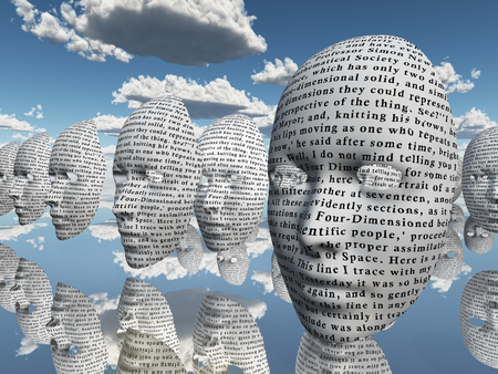 Surreal face with text hovers in cloudy sky Stock Photo - 106896708