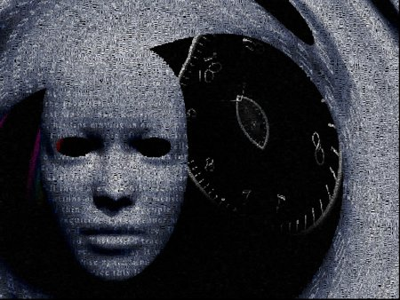 Surrealism. White mask and time spiral. Words.