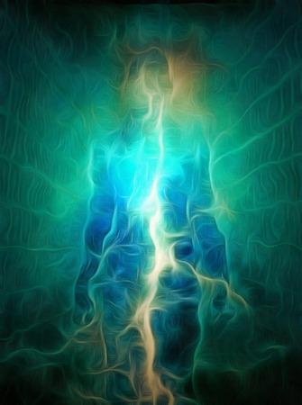 Surrealism. Energy inside human silhouette. 免版税图像