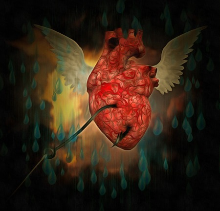 Surreal painting. Winged heart with hook inside. Stock Photo