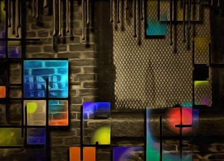 Abstract painting. Mondrian style. Stock fotó