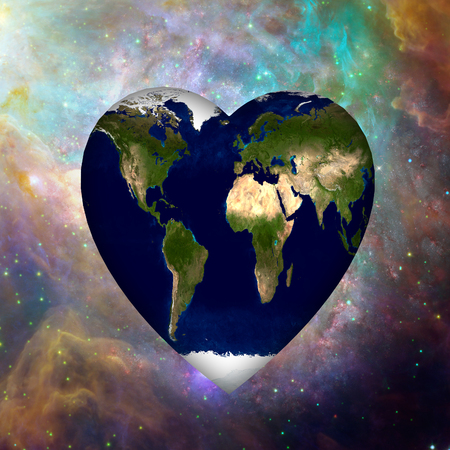 Earth Heart in Vivid Space Stock Photo