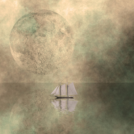 Sailboat floats in the surreal calm ocean. Giant moon at the horizon