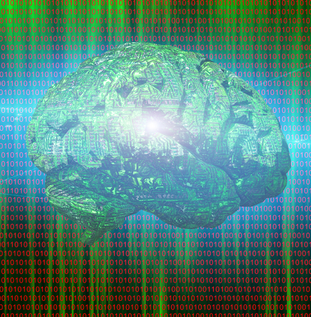 Electronic Brain on binary code background
