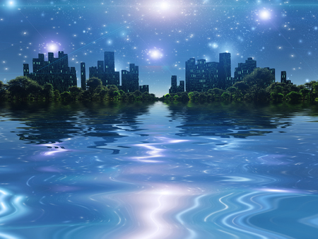 Surreal digital art. City surrounded by green trees in water world. Bright stars in the sky.