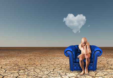 Man contemplates in desert with heart shaped cloud