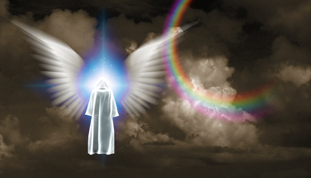 Surrealism. Figure in white cloak stands before shining light with white angel's wings.