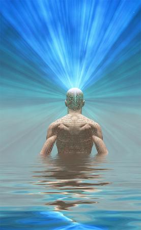 Man radiates light from mind Banco de Imagens