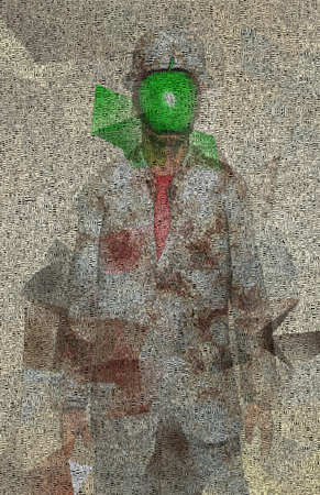 Surreal digital art. Man in white suit with green apple instead of face. Rene Magritte style. Picture is composed entirely of the words. Banque d'images