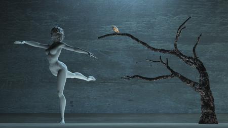 Estatua blanca de mujer en pose de baile. Pájaro, en, viejo, árbol Foto de archivo
