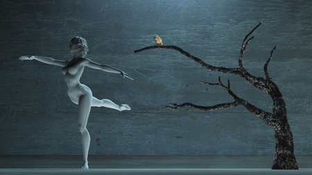 Woman's white statue in dancing pose. Bird on  old tree