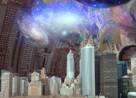 New York surreal composition. Warped space and galaxies Stock Photo
