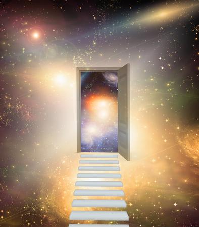 Open door in vivid space