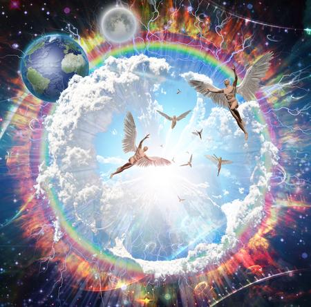 Vivid galaxy. Naked winged men represents angels. 3D rendering.  Banco de Imagens