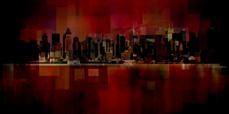 Modern art. New York cityscape. Manhattan. 3D rendering