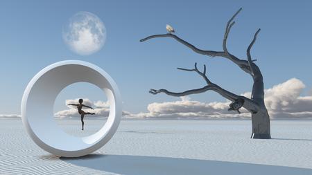 Woman dances in desert. Full moon in blue sky. Bird on a tree branch