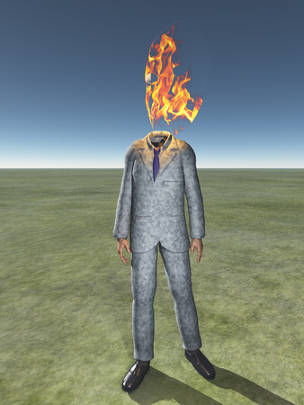 Man in a suit with burning flame instead of head.