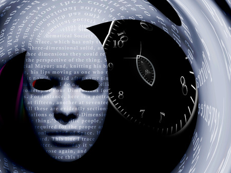 Mask with text stock and time spiral. Warped space. 3D rendering Stock Photo
