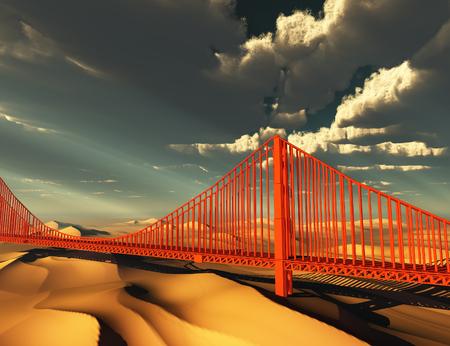 Golden Gate Bridge in desolate future Banco de Imagens