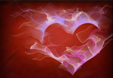 Love heart shape with fluids of light Reklamní fotografie