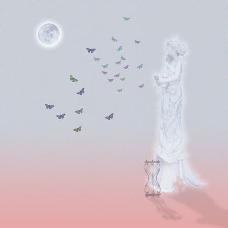 Woman`s marble statue and butterflies. Glowing moon and hourglass. Standard-Bild - 108676569