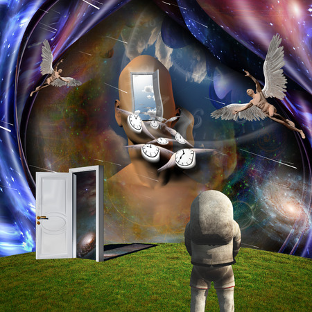 Surrealism. Mans head with opened door to another world. Naked man with wings represents angel. Winged clocks symbolizes flow of time. Astronaut. 3D rendering. Some elements provided courtesy of NASA