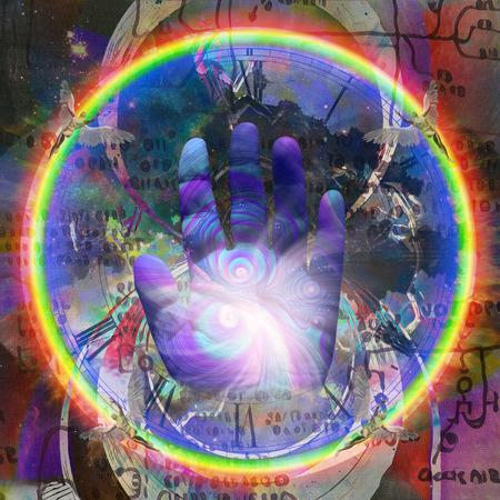 Colorful human palm hand. Winged men represents angels. Ancient symbols or blueprint on background Reklamní fotografie