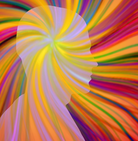 Human head profile silhouette radiates colorful beams