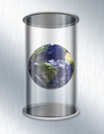 Planet Earth in glass container