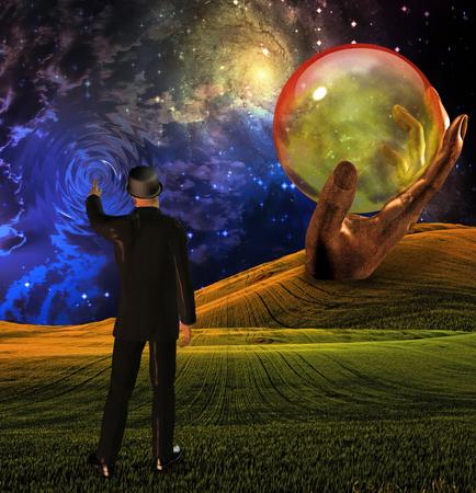 Mann im Anzug berührt Himmel, der Wellen vor leerer Kugel in geformter Hand erzeugt