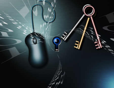 Computer mouse and keys. Binary code. Cyber security