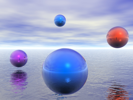 Colorful glass spheres hovers over water