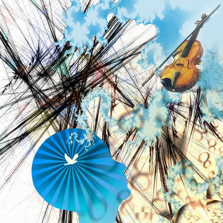 Violin musical instrument. Bird silhouette in human mind Stock Photo