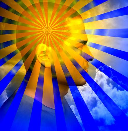 Bright light beams radiates from man head