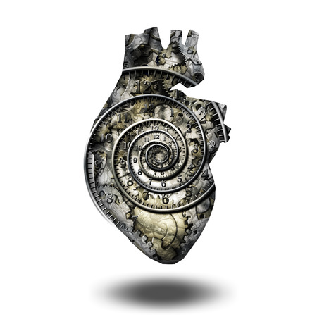 Human heart gears and time spirial. White background