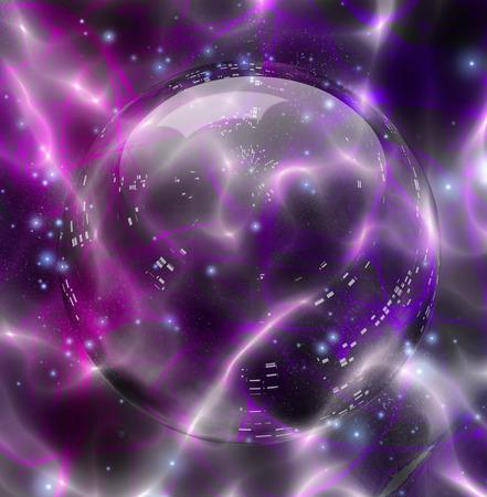Bola de cristal sobre fondo violeta vivo. Fluctuaciones de luces