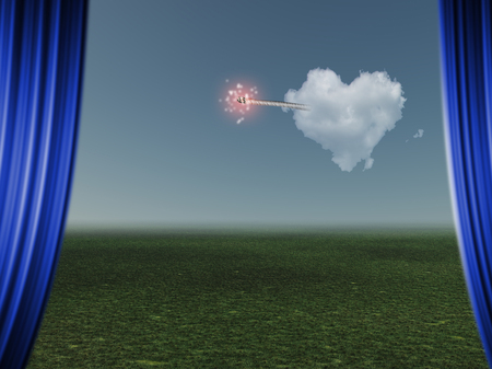 Surrealism. Cloud in shape of love heart with ignited wick. Imagens