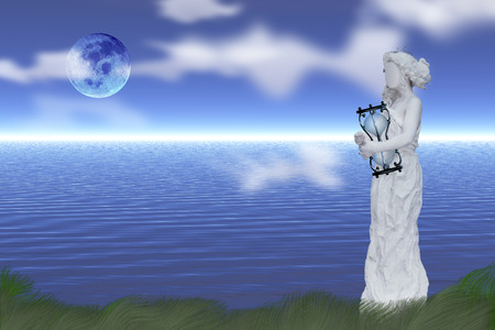 Woman's statue with hourglass at the shore of endless ocean. Full moon in clear sky Standard-Bild - 109154933