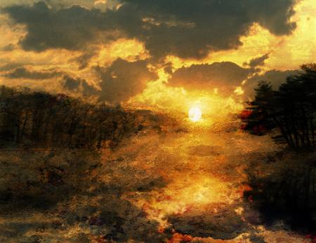 Orange sunset over forest river Standard-Bild - 109993301