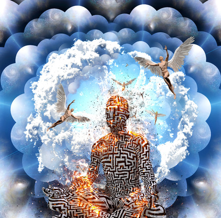Surrealism. Burning figure of man with maze pattern meditates in lotus pose. Men with wings represents angels. Multi layered spaces.