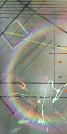 Abstract Painting with Geometric shapes and Rainbow