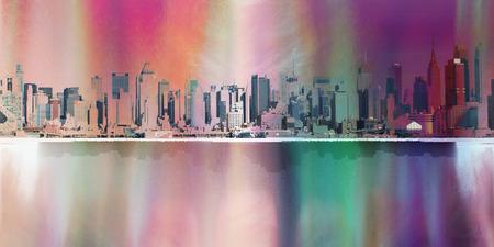 Modern art. NYC Landscape. Manhattan harbour. Stock Photo