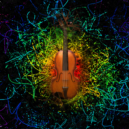 Digital modern composition. Violin on abstract background.