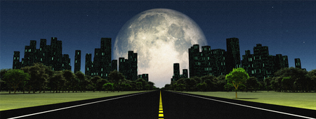 Surreal digital art. Road to the city. Giant moon at the horizon.
