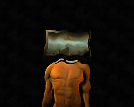 Surrealism. Man body with TV-screen instead of head. Stock Photo