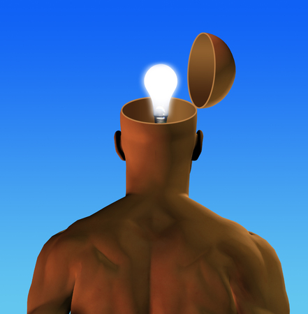 Man with open head and glowing lightbulb