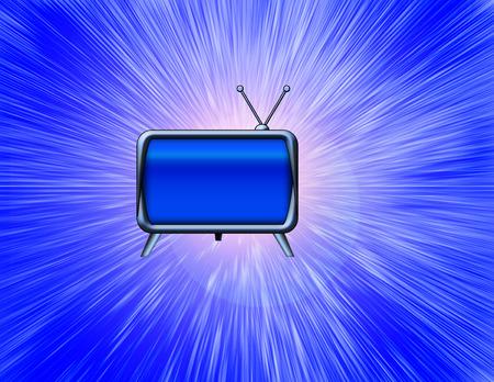 Old TV set on abstract burst blue background