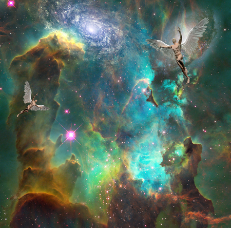 Surrealism. Men with wings symbolizes angels in space. 3D rendering. Some elements provided courtesy of NASA.
