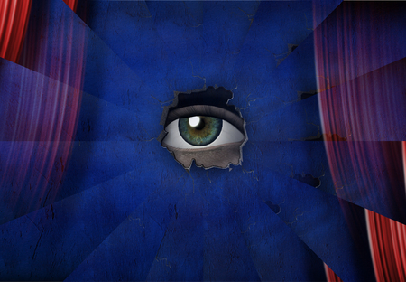 Surreal painting. Eye watching through hole in wall.