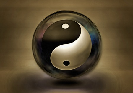 Painting on canvas. Yin Yang sign. 3D rendering